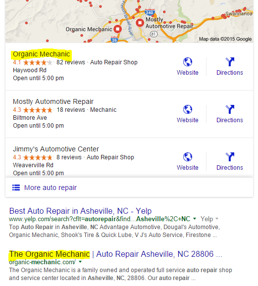 Google results showing local pack and organic listing